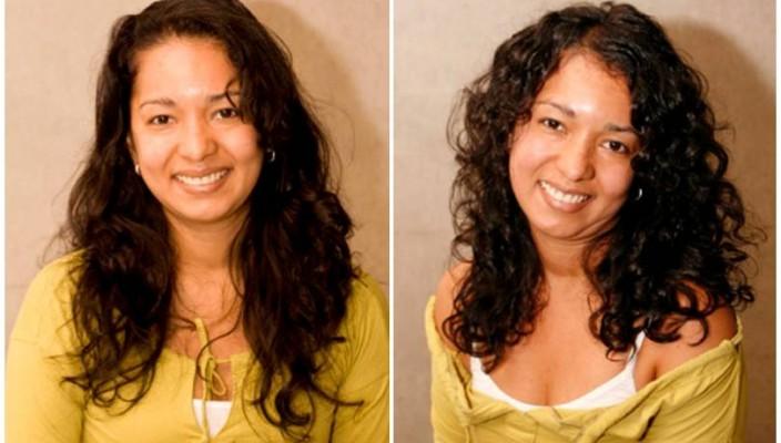 voor en na krullenkapsel